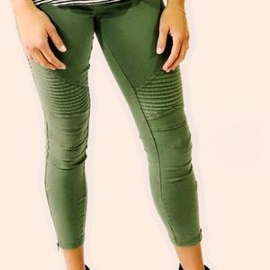‼️4 LEFT‼️olive green moto legging pants